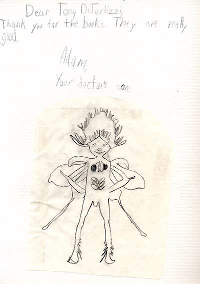 Adam's drawing of a Spiderwick sprite