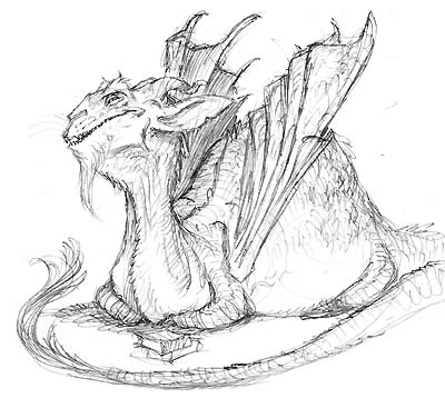 "Sketch of dragon for ""Kenny & The Dragon"""