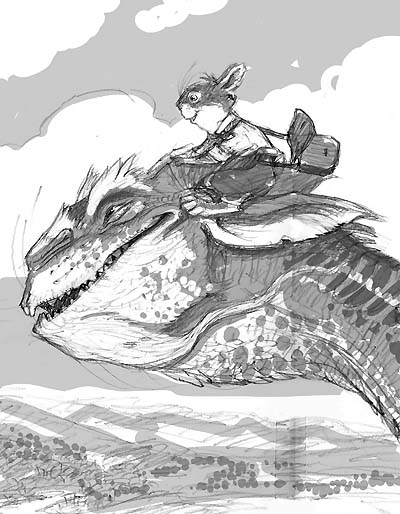 "Cover sketch done for ""Kenny & The Dragon"""