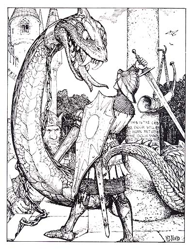 Dragon illustration by H.J. Ford, 1909