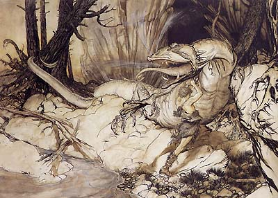 Seigfried kills Fafnir by Arthur Rackham, 1911