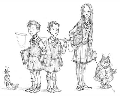 First final character drawings of the Grace kids, 2001-2002