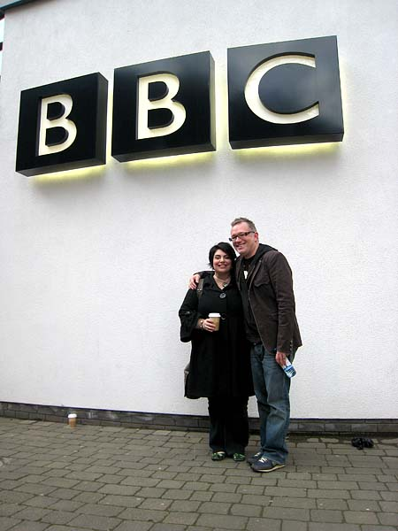 Outside the BBC offices, Leeds