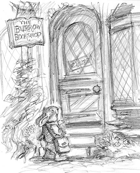 Sketch of the Burrow Bookshop