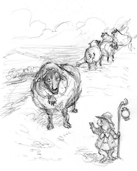 Kenny's dad herdin' the sheep