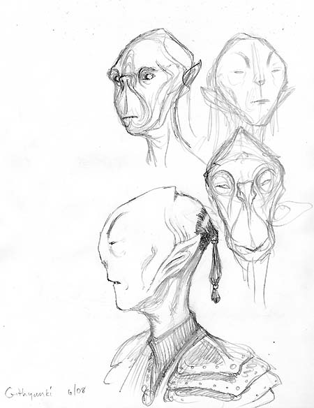Githyanki head sketches