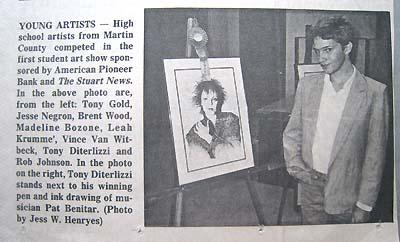 STUART NEWS Newspaper article with a teenaged, mula-winning Tony D