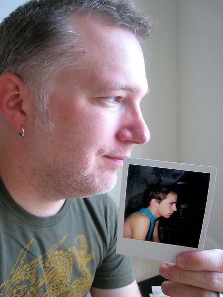 Old Tony with Polaroid of teen-age Tony