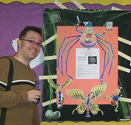 In front of a Spideriffic bulletin board in Michigan, 2002.