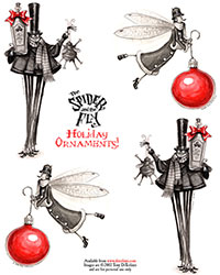 The Spider and the Fly Holiday Ornaments