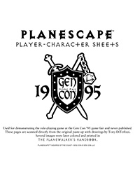 Planescape Character Sheets